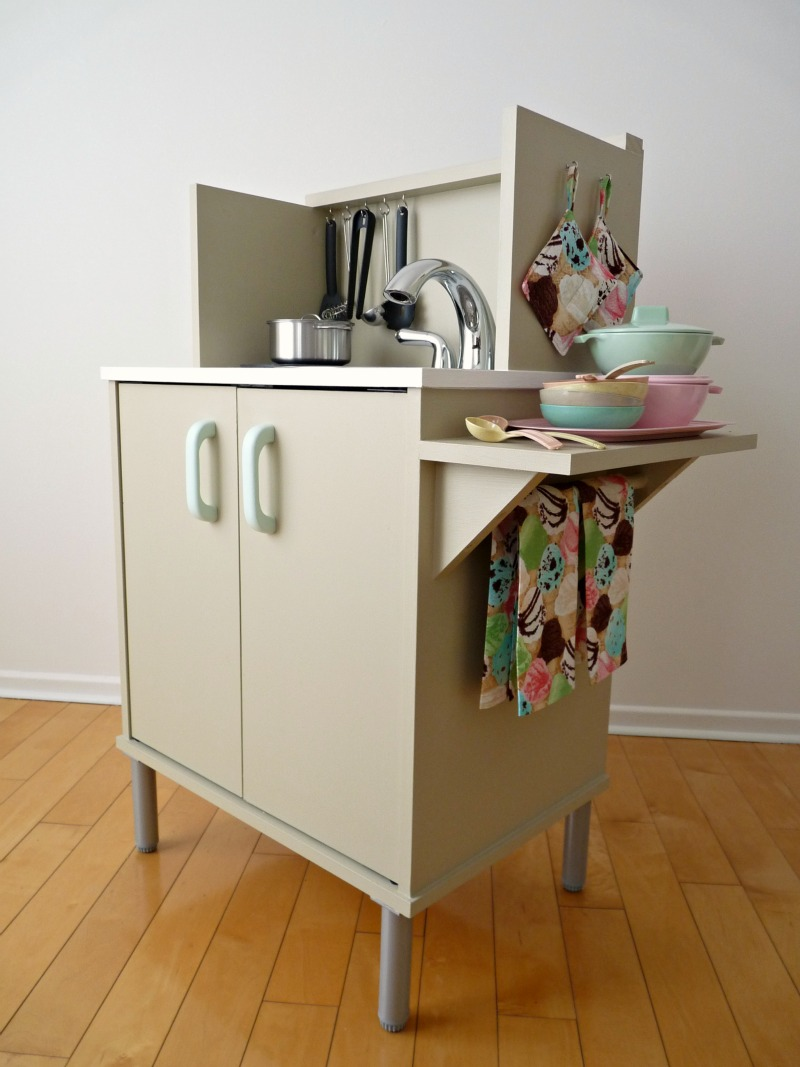 DIY Play Kitchen with Extended Counter