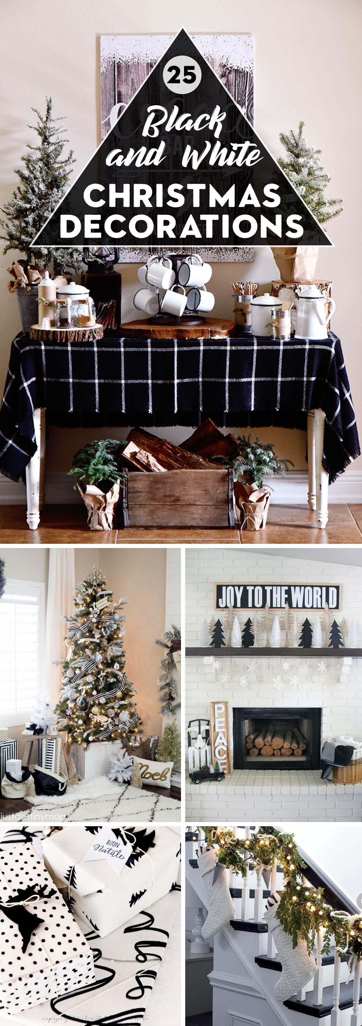 25 black and white christmas decorations sporting the classic color combination