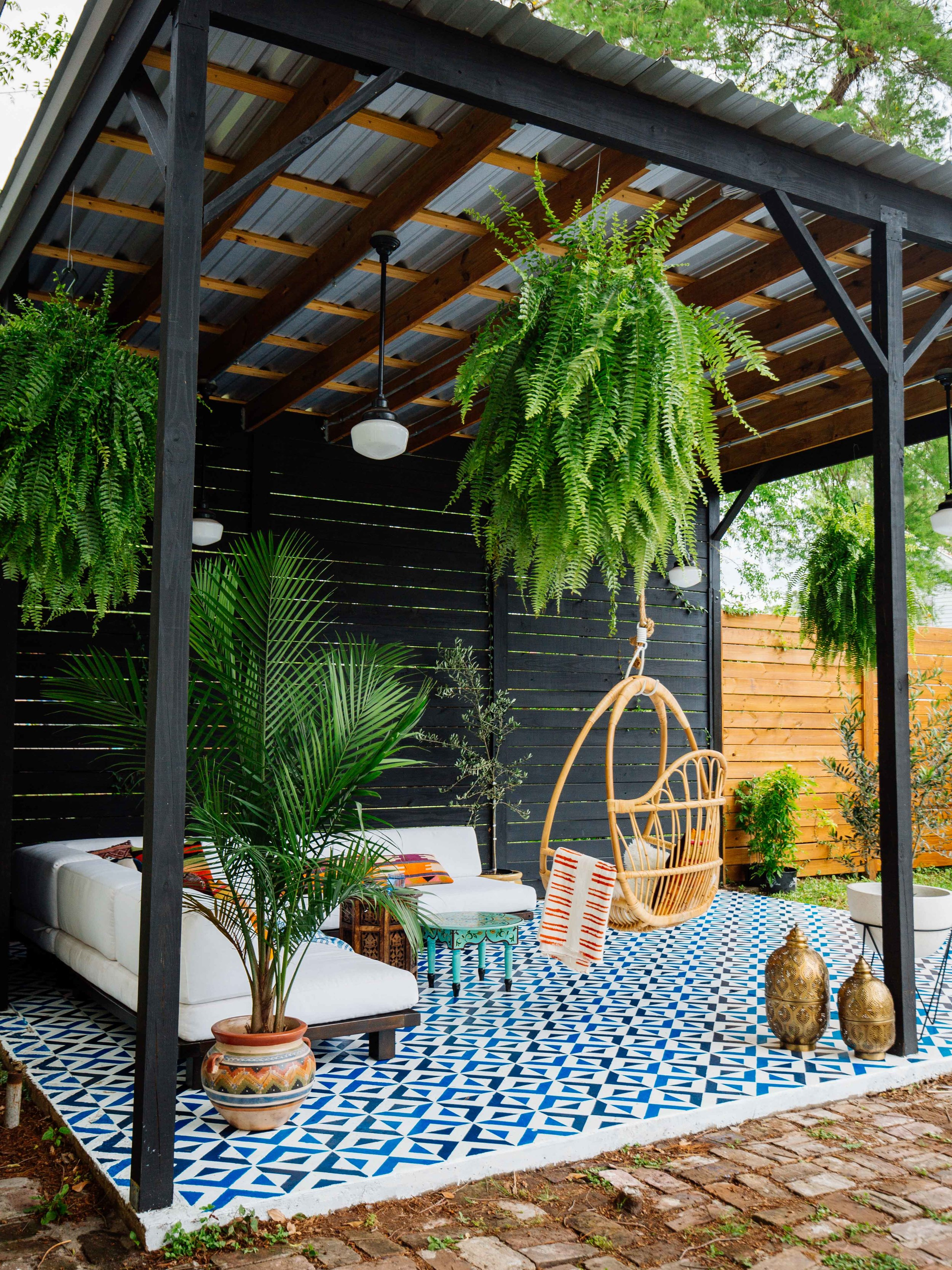 Black And Brown Pergola with Metal Shade