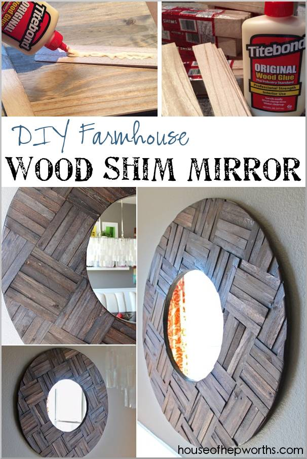 Farmhouse mirror made from shims