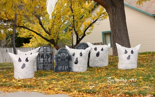 Outdoor Halloween Decor : Ghost Leaf Bags