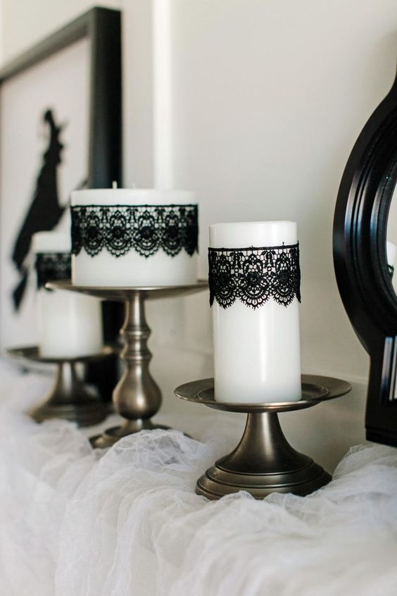 Glamorous Yet Spooky Candle Decor