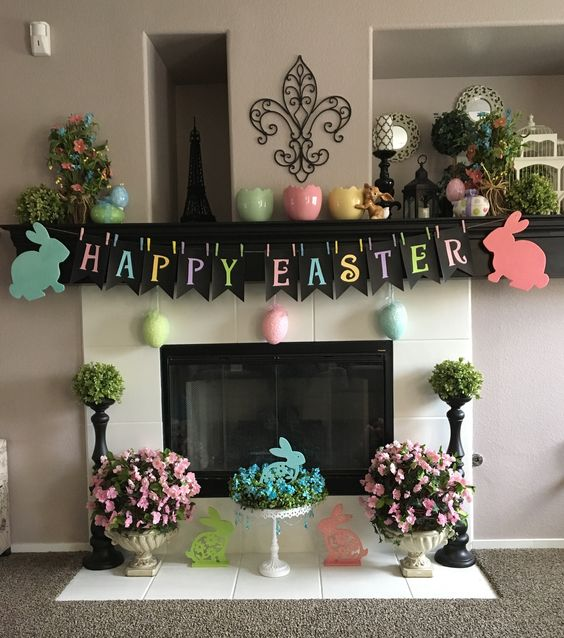 Antique Vases and Easter Bunting