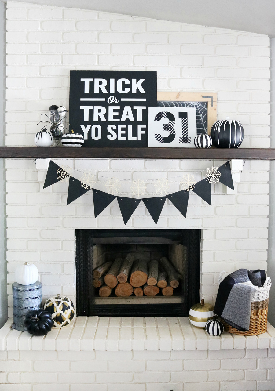 Black and White Halloween Mantel Decor