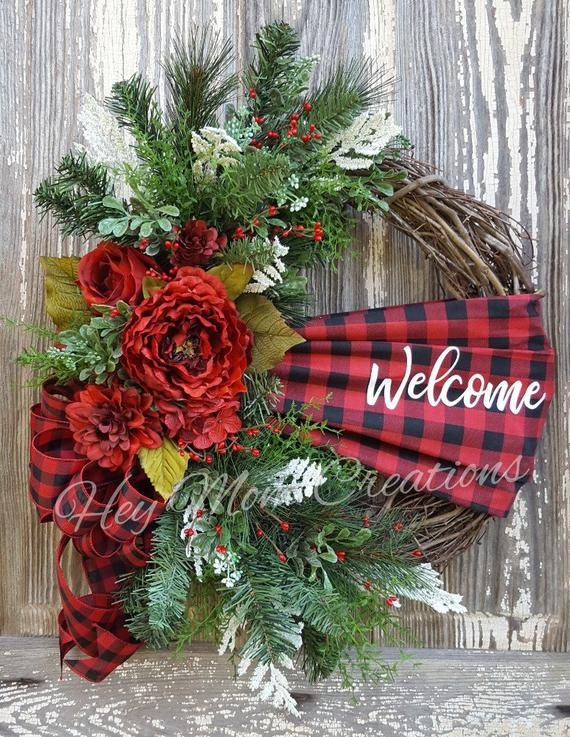 Buffalo Check Christmas Wreath.24 Christmas Door Wreath Ideas Adding Some More Joy To Your