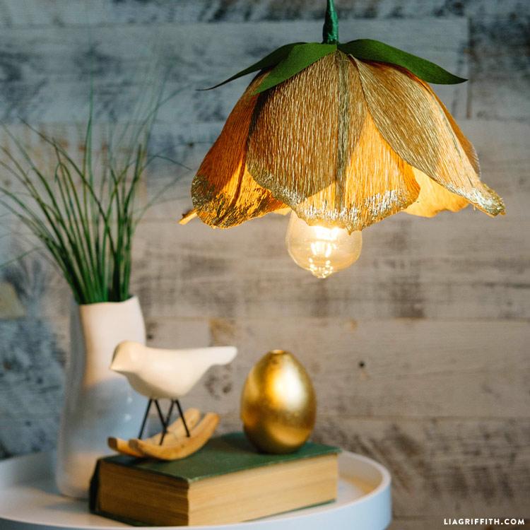 Crepe Paper Flower Pendant Light