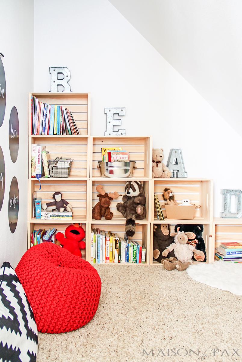 DIY Wood Crate Book Storage