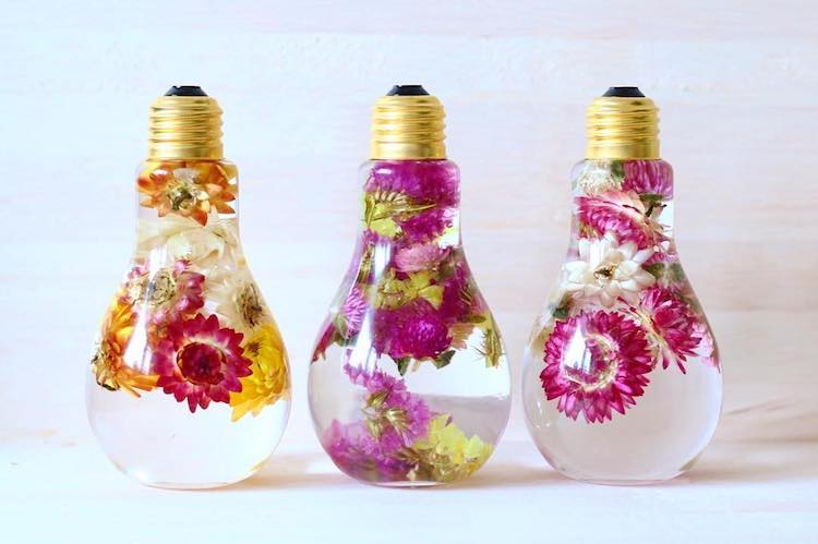 Enchanting Flowers in Light Bulbs