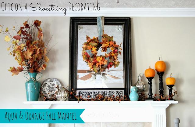 Fall Mantel, Aqua and Orange