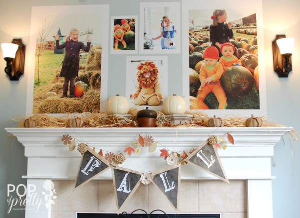 Fall Mantel Decor With Giant Fall Photos