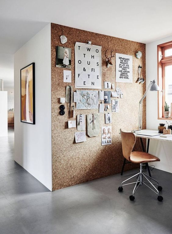 Home Office With a Cork Wall