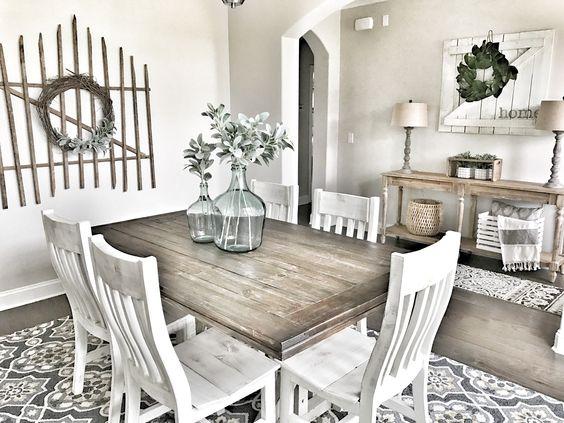 Neutral Hues Farmhouse Dining Space