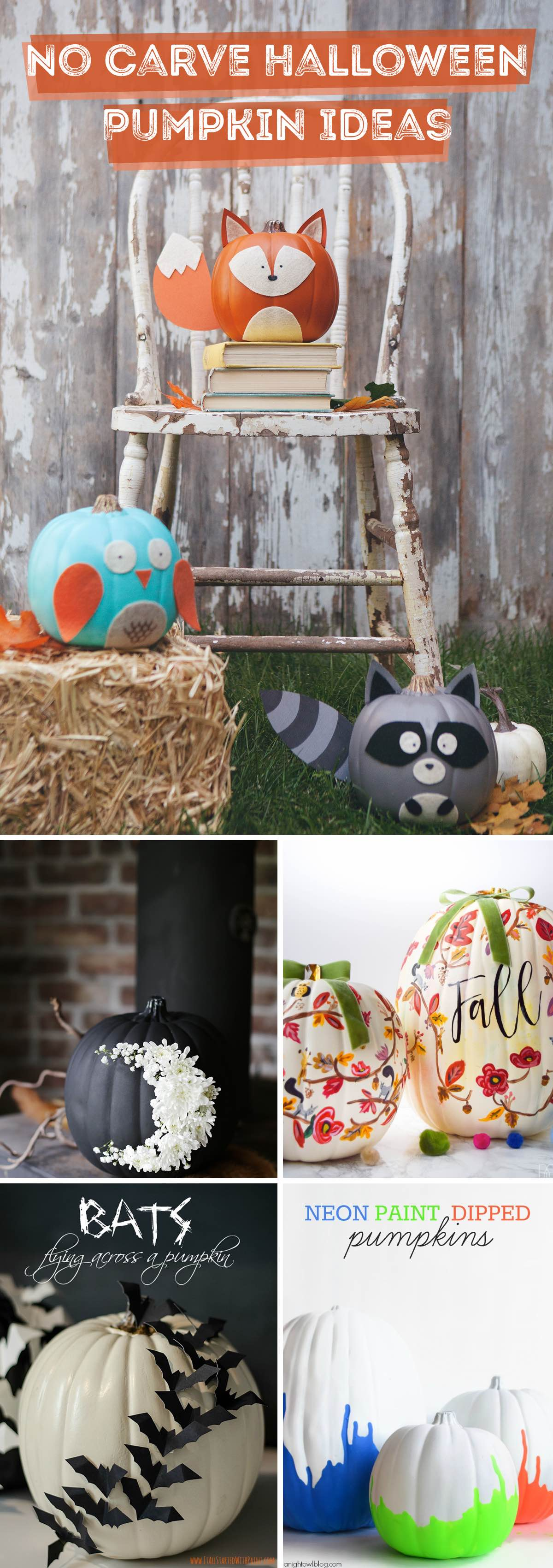 No Carve Halloween Pumpkin Ideas
