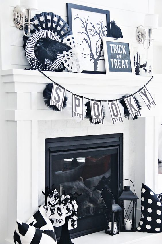 Winsome Spooky Black and White Halloween Mantel