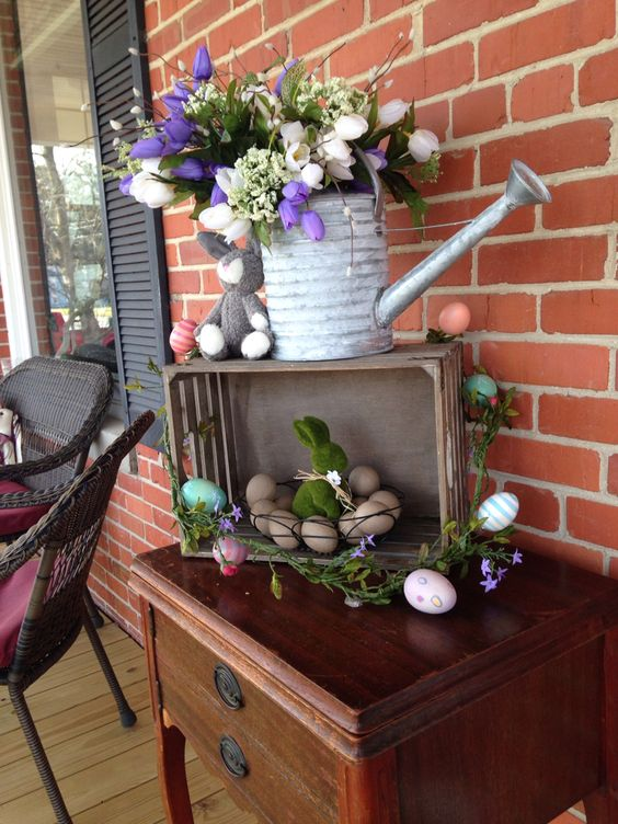 Wood Crate Easter Porch Decor
