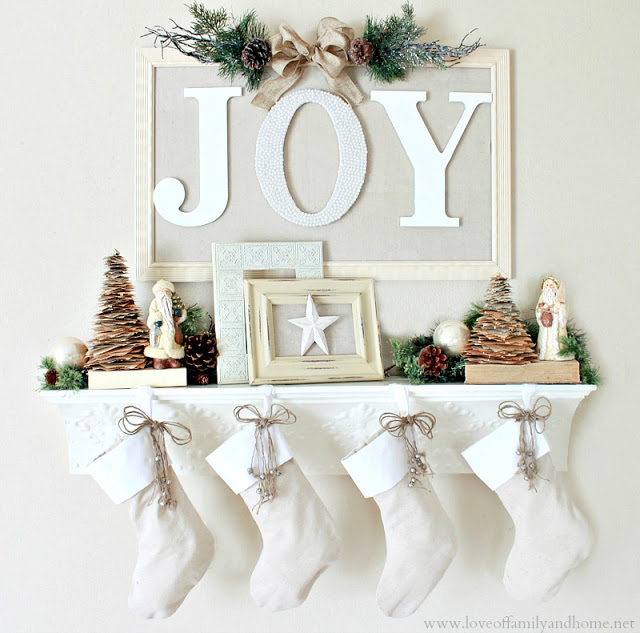 """JOY"" Christmas Mantel"