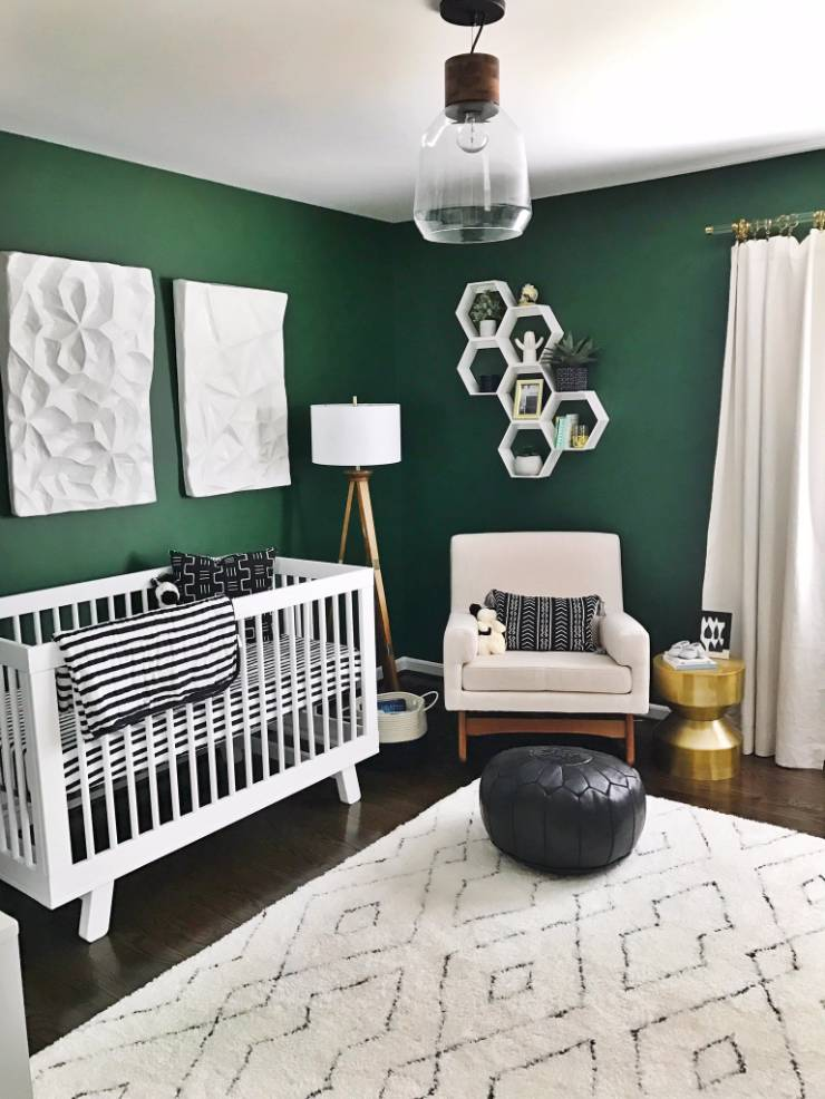 A Green Nursery With Modern Black And White Accents