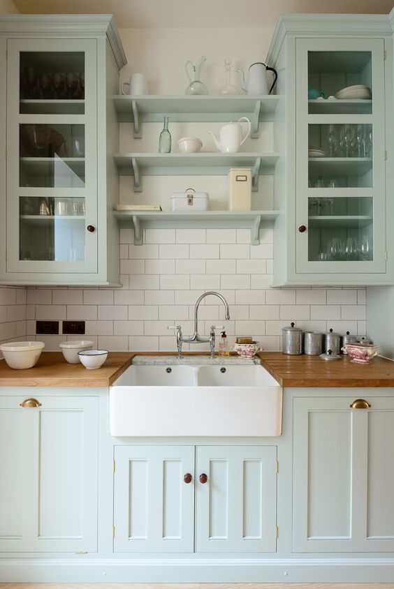 Cabinets with Built-In Shelves in the Middle