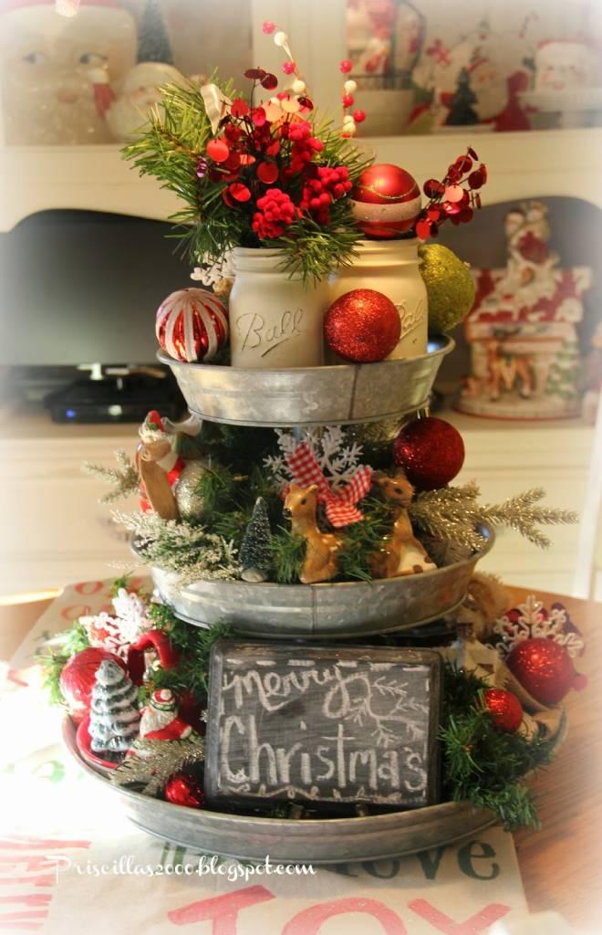 Christmas Galvanized Tray Centerpiece