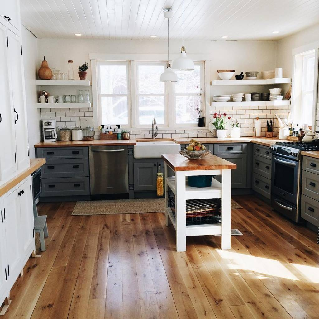 Country Charm White and Grey Kitchen Cabinets