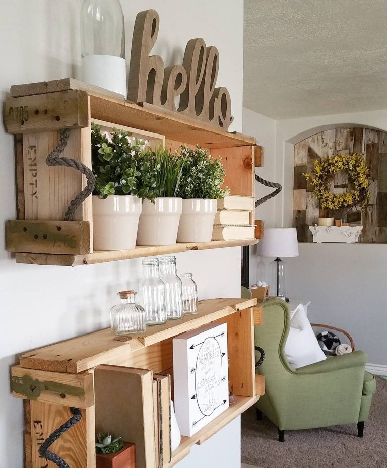 Crates to Rustic Book Shelves