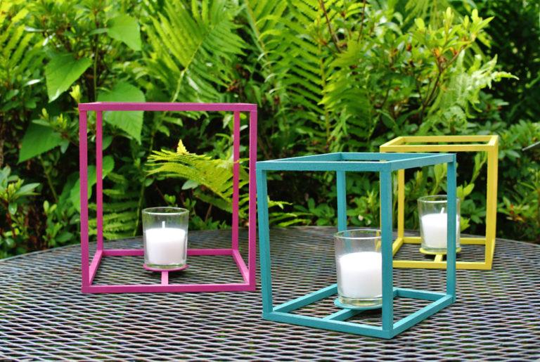 DIY Outdoor Cube Lanterns