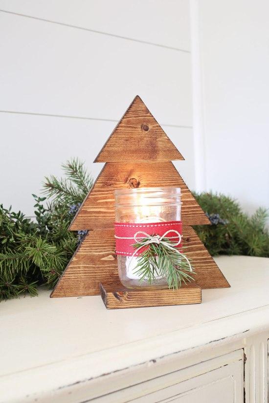 DIY Wood Christmas Tree Mason Jar