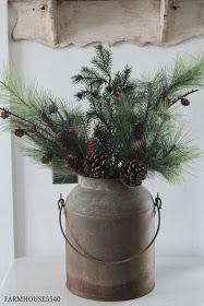 Galvanized Vase with Pinecones