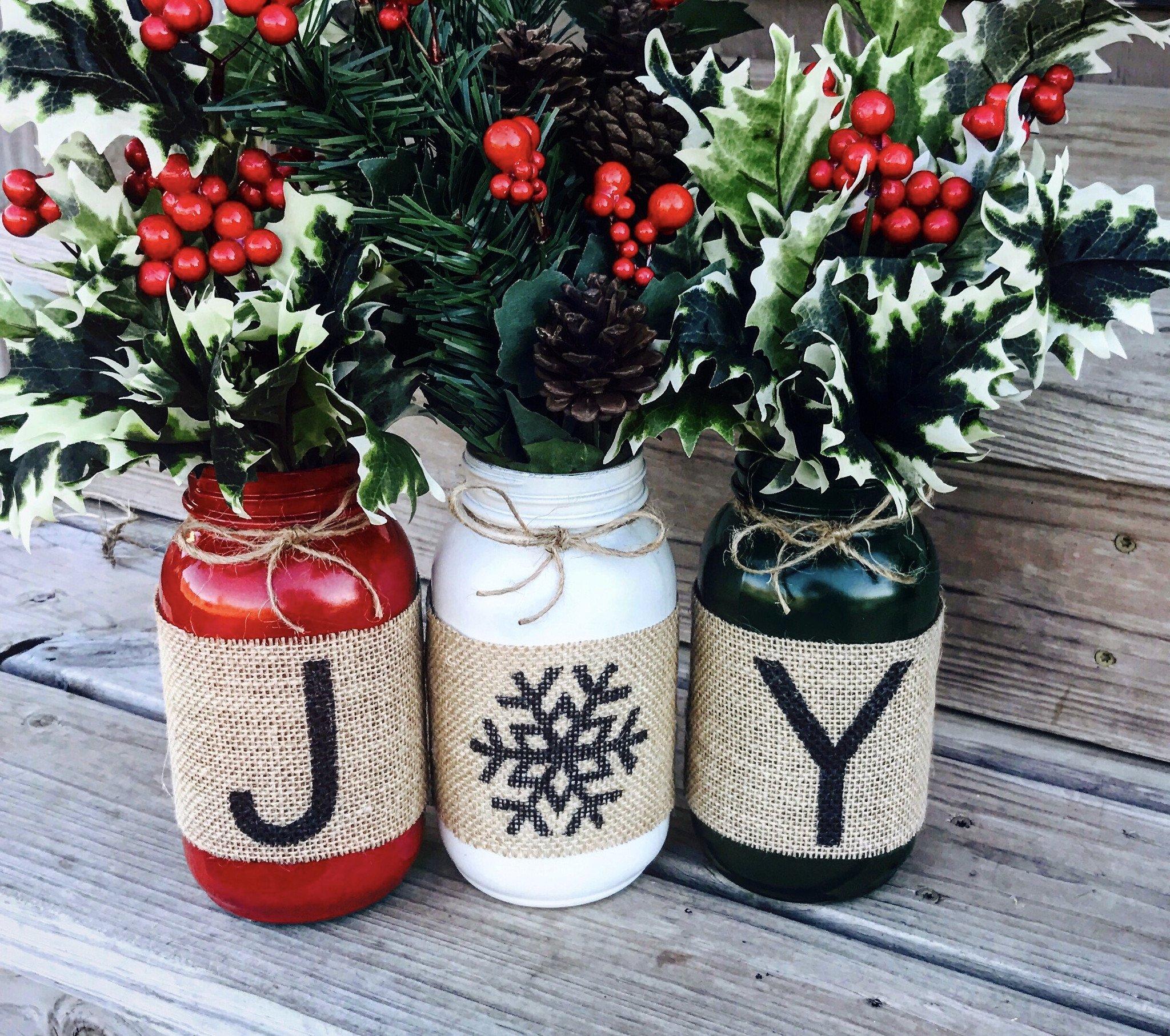 Holiday Burlap Mason Jars