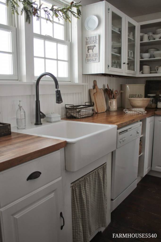L-Shaped Wall Mounted Farmhouse Kitchen Cabinet