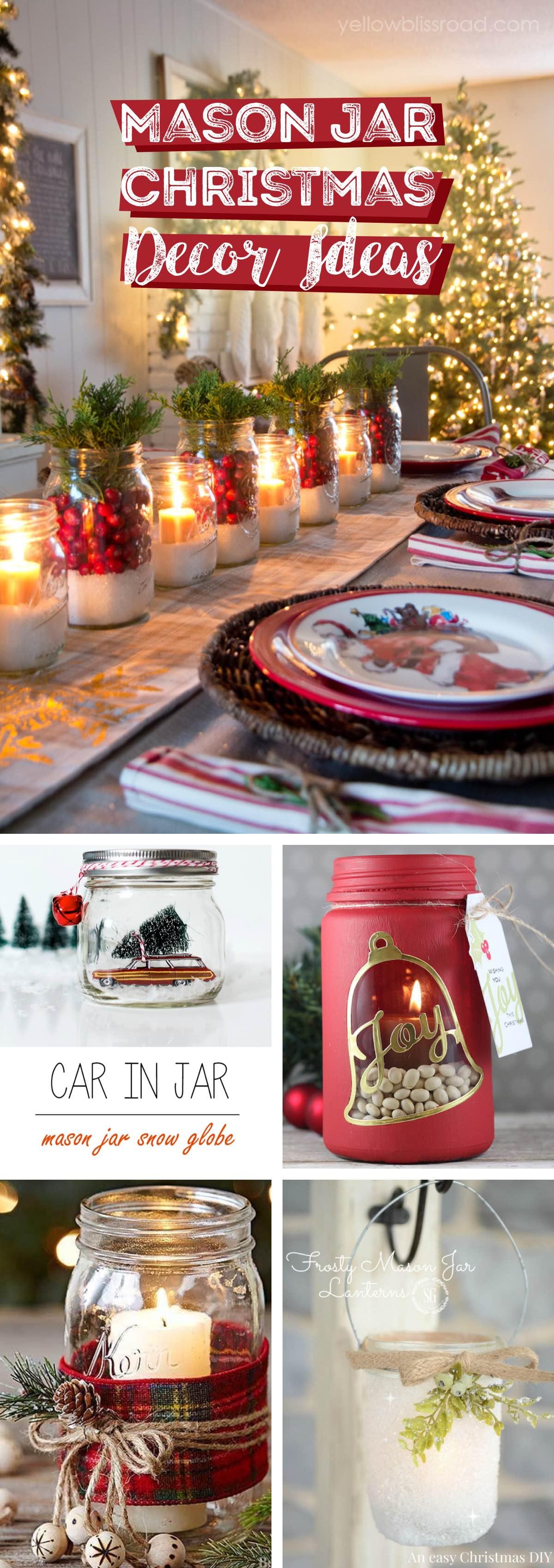 Mason Jar Christmas Decor Ideas