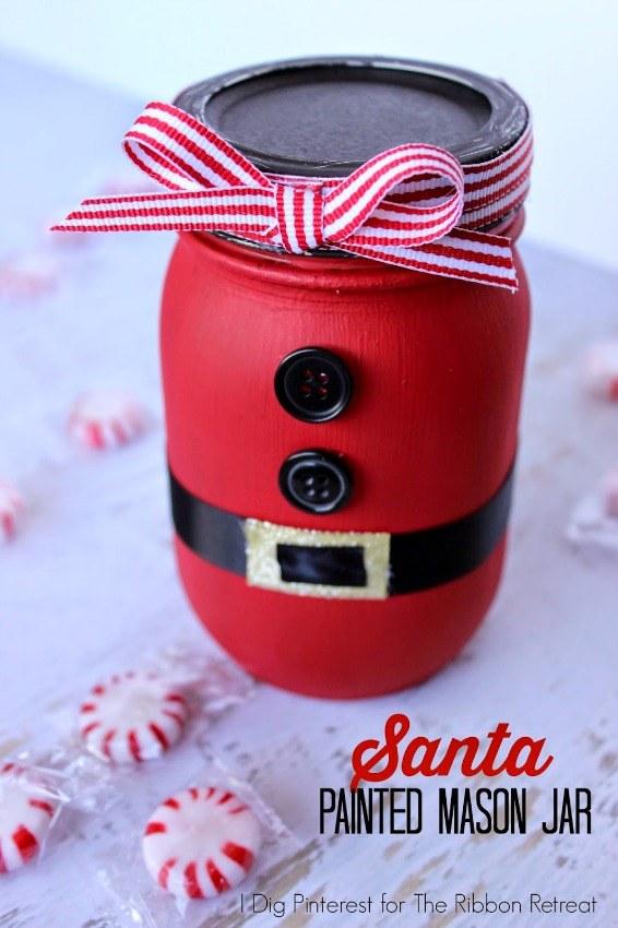Santa Painted Mason Jar