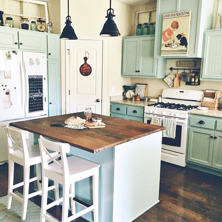 Soothing Pastel Kitchen Cabinets