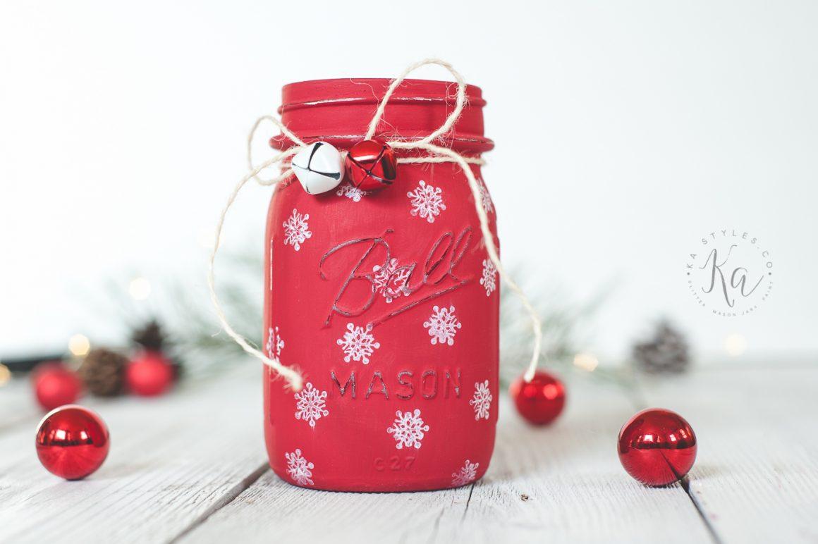 Stamped Snowflake Mason Jar