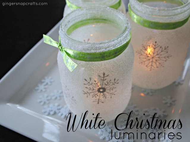 White Christmas Mason Jar Luminaries