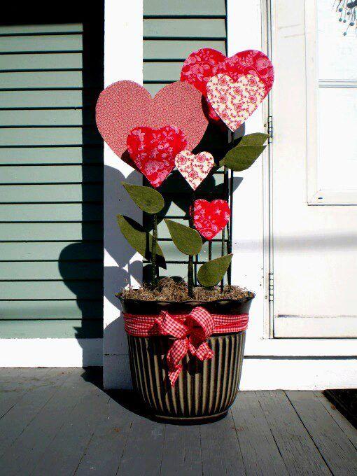 Faux Outdoor Valentine's Day Decor Plant