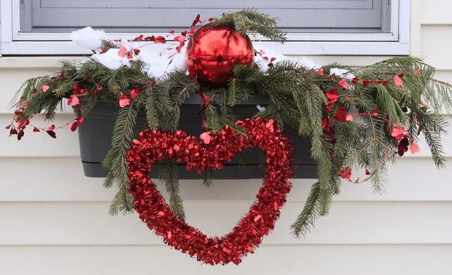 Outdoor Window Box Valentine's Day Decor