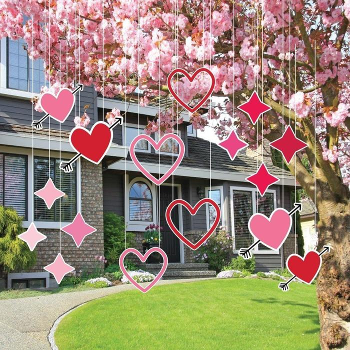 Outdoor Valentine's Day Decor - Hanging Hearts and Sparkles