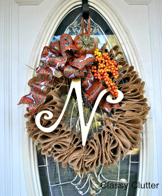 $5 Burlap Fall Wreath