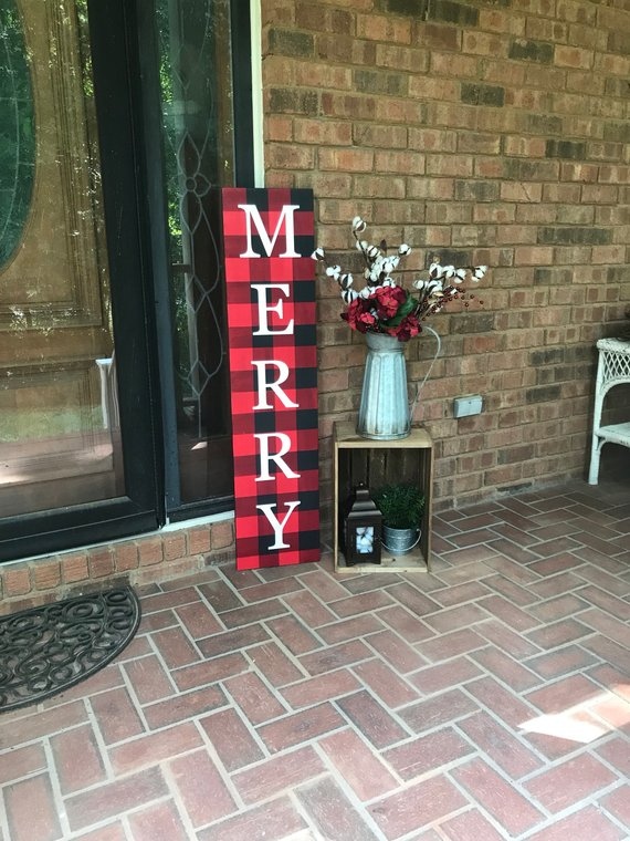Buffalo Plaid Christmas Porch Sign