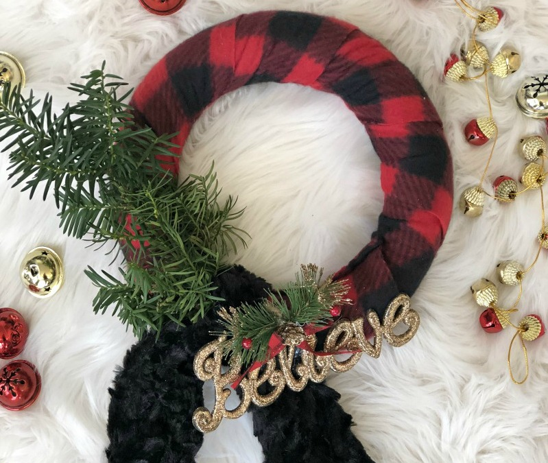 DIY Buffalo Plaid Scarf Wreath