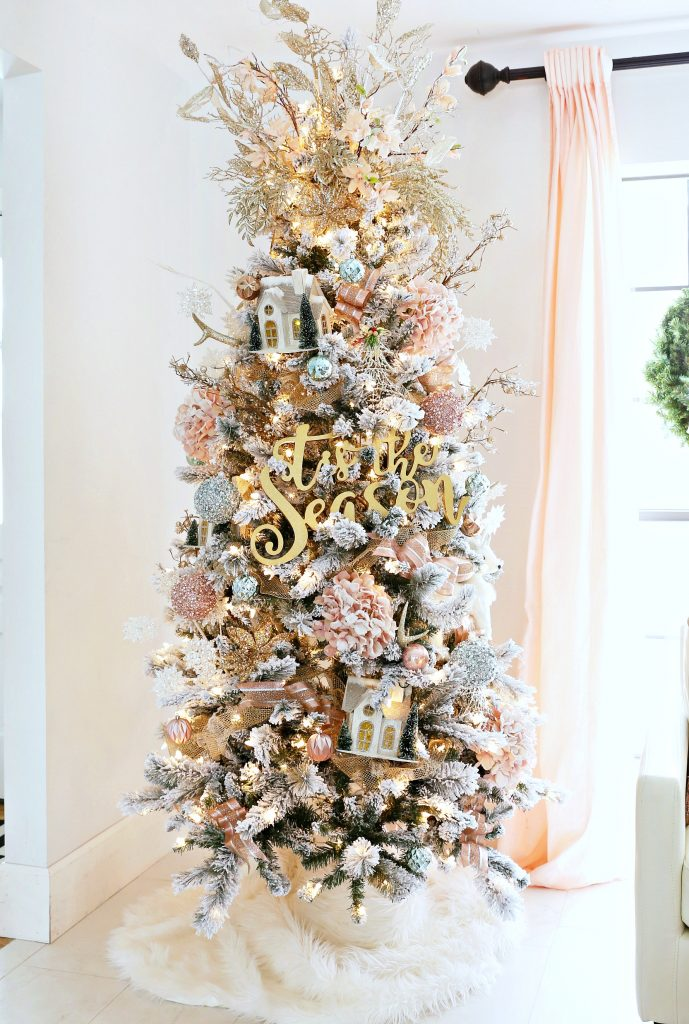 Flocked Christmas Tree with Pink and Gold Accents