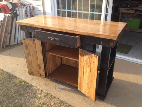 Handmade Kitchen Island with Reclaimed Lumber.