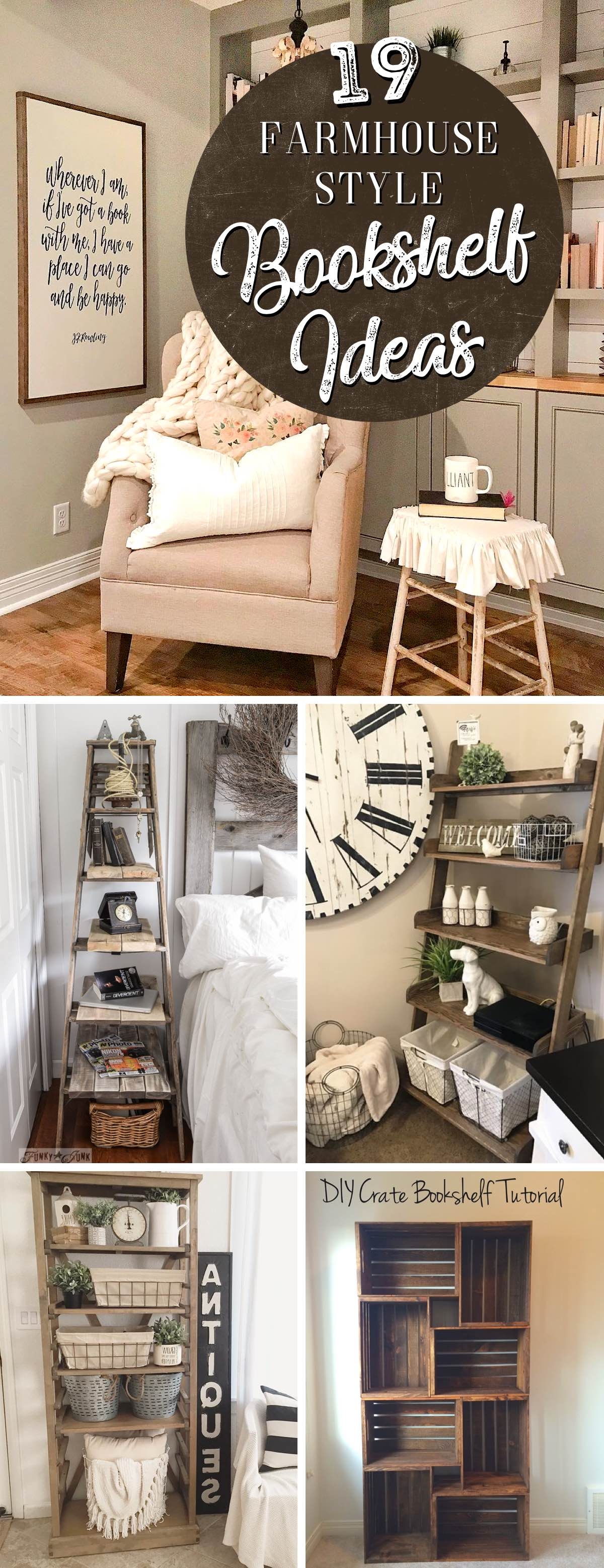 Practical Farmhouse Style Bookshelf Ideas