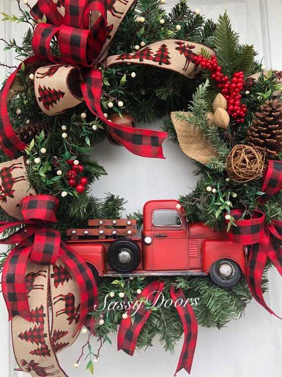 Red Truck Buffalo Plaid Wreath