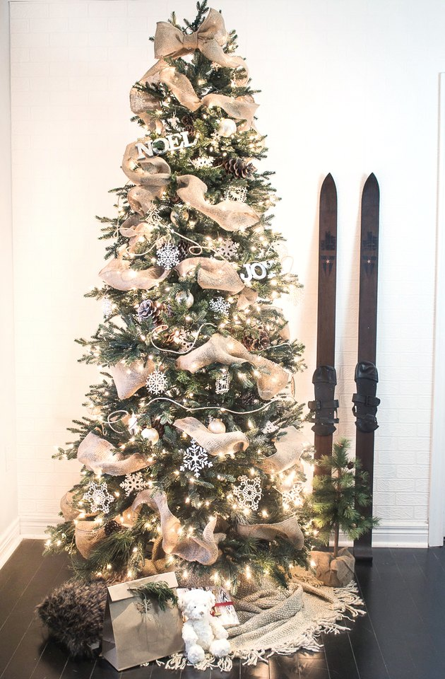 Ribbon Garland on a Christmas Tree