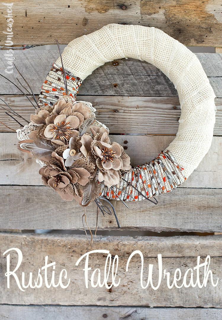 Rustic Burlap & Yarn Fall Wreath
