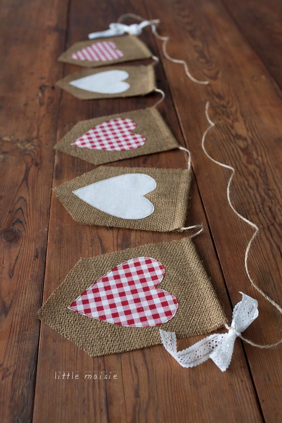 Burlap and Lace Heart Banner
