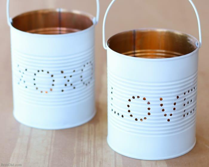 Upcycled Craft Idea : Valentine Tin Lantern