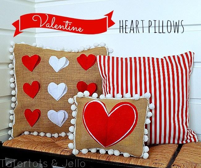 Valentine Heart Pom Pom Pillows